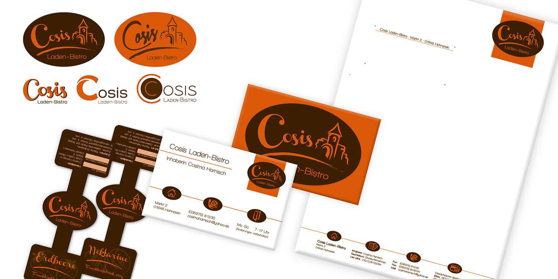 Cosis Ladenbistro: Logo-Entwürfe, Visitenkarte, Briefbogen & Marmeladen-Etiketten
