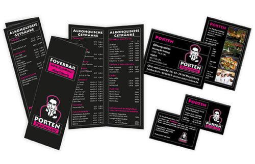 Porten: Getränkekarte, Flyer & Visitenkarte zu bestehendem Logo