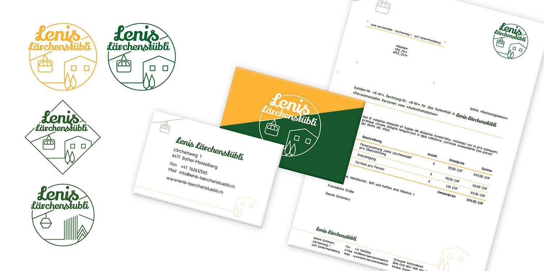 Lenis Lärchenstübli: Logo-Entwürfe, Visitenkarte & Briefbogen