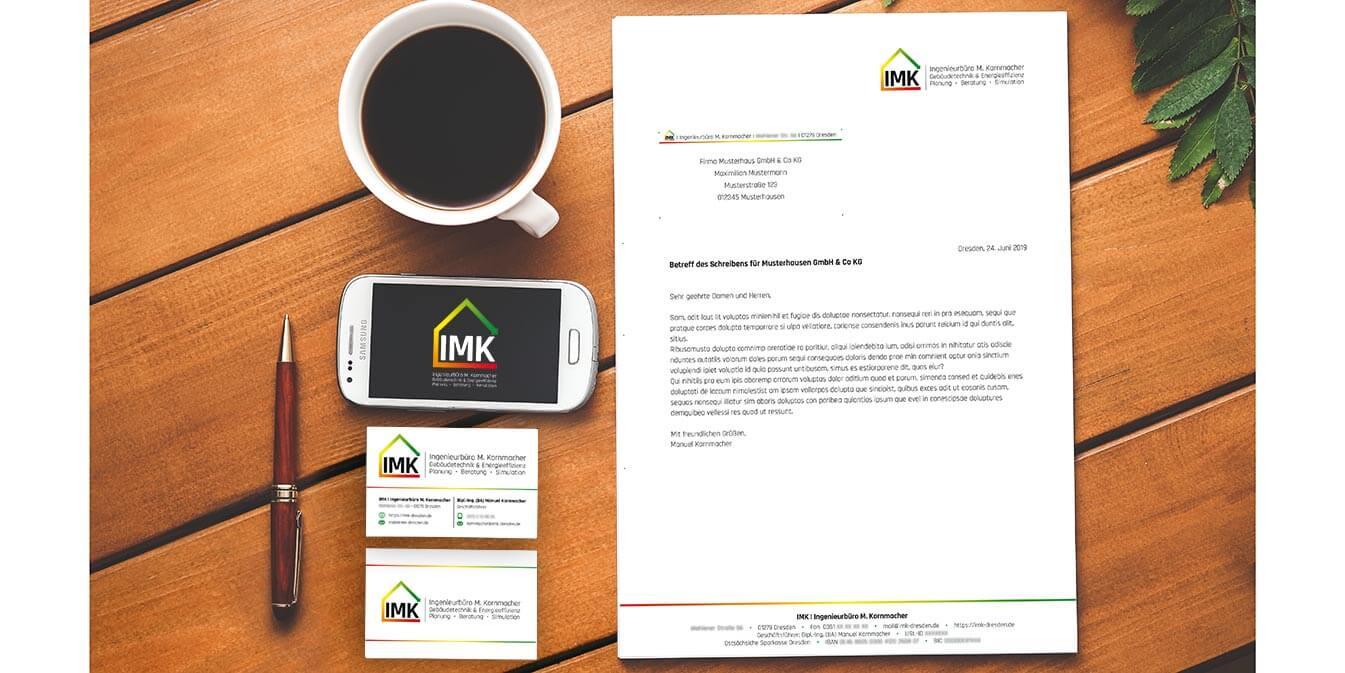 IMK: Logo-Varianten, Visitenkarte & Briefbogen