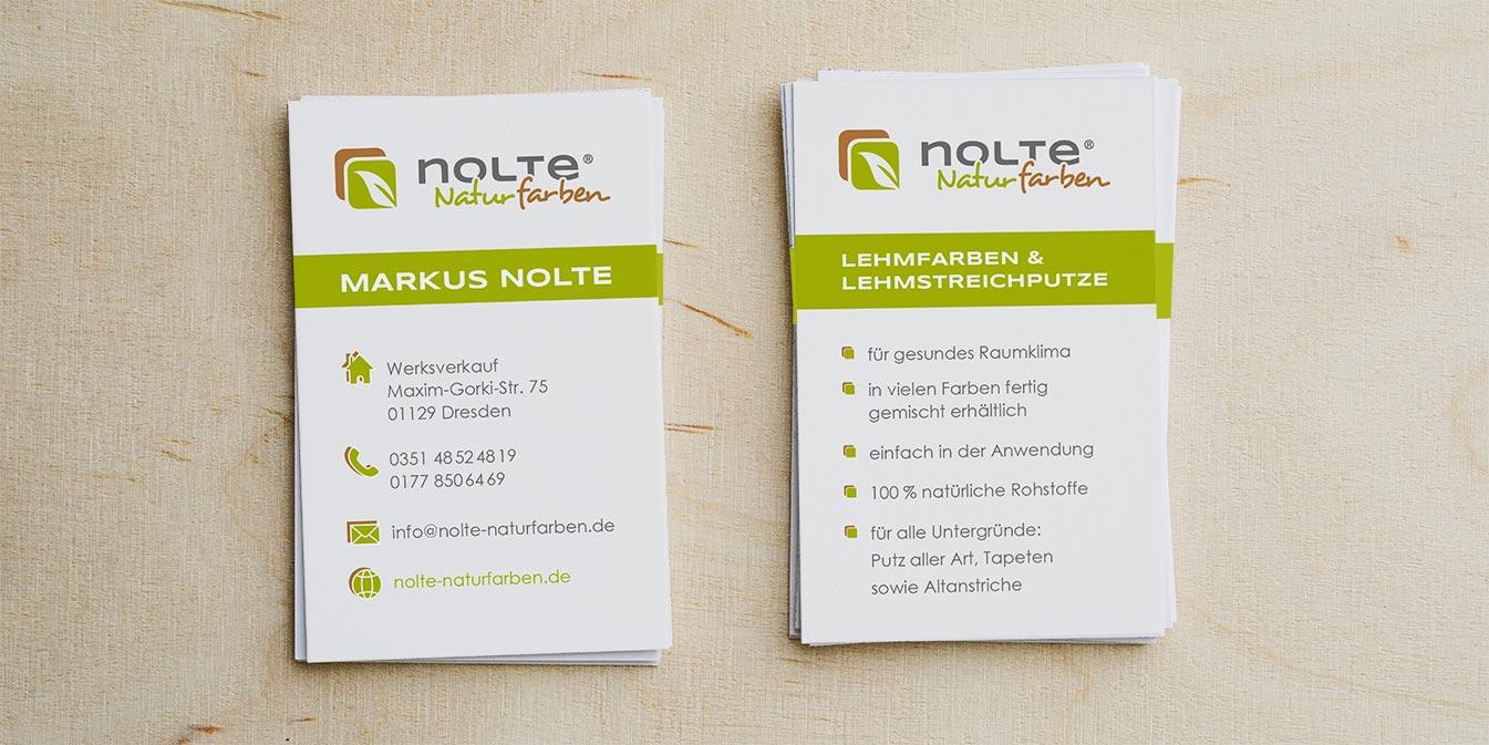 Nolte Naturfarben: Visitenkarten-Design